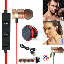 Red KM57 Magnetic Wireless Bluetooth Handsfree Headset Earphone For Mobile Phone