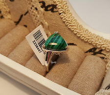 Beautiful Malachite Solitaire Ring in 925 Sterling Silver