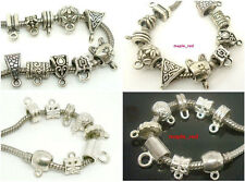 50pcs New Hot Assorted Tibet/Silver Plated  Loop Bail Charms Beads Fit Bracelet