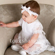 Infants Bow-Knot Baptism Dresses Lace Applique White Ivory Baby Christening Gown