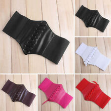 Fashion Women Wide Elastic Stretch Waist Belt Waistband Lady Corset Faux Leather