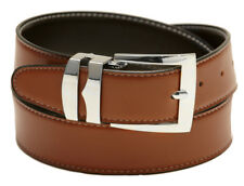 Reversible Belt Wide CONGAC BROWN /Black with White Stitching Silver-Tone Buckle
