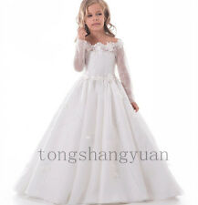 Long Sleeve Flower Girl Dresses Birthday Party Formal Prom Gown Pageant 2017 New