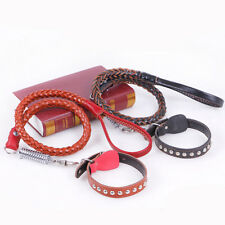 Leather Dog Neck Collar Cowhide Collar Adjustable Neck Strap w/Leather Rope