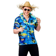 Mens Hawaii Shirt Blue Palm Trees Costume for Hawaiian Fancy Dress Mans Male