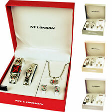 Ladies Jewellery Set Wristwatch Bracellet Necklace Pendant Earrings Gift New Hot