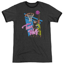 Teen Wolf Slam Dunk Mens Adult Heather Ringer Shirt Charcoal