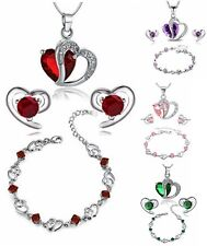 Ladies Jewellery Set Swarovski Bracellet Necklace Pendant Earrings Gift New Hot