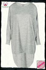 Oversized Grey/Silver Dipped Hem Long Sleeved Top Size 20/22 24/26