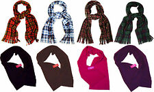 Ladies / Mens Soft and Warm Tartan Check or Plain Fleece Scarf Scarves