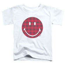 Smiley World Plaid Face Little Boys Toddler Shirt White
