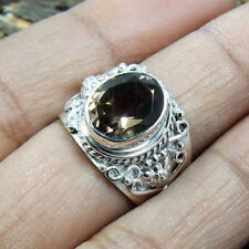 9x11MM  SMOKY QUARTZ  925 SOLID STERLING SILVER HAMMERED RING SIZE 3-12.5 VZ83