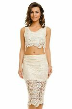 Ladies Pencil Skirt Women Co-ord Flared Lace Size UK Christmas Co Ord Crop Top