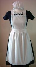 LADIES SHORT APRON  MOP CAP ONLY blue lace Victorian Edwardian Alice fancy dress
