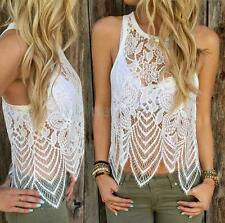Sleeveless Asymmetrical See-Through Lace Tank Top for Women White Lace Top
