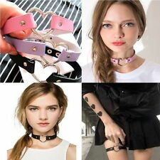 Goth Women Punk CHIC Rivet  Leather O-Ring Heart Collar Choker Necklace