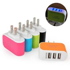 Wall Home Travel Charger Adapter Light 3-Port USB AC LED Power