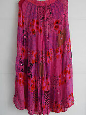 Crinkle Georgette Patchwork Tiered Hippy Boho Gypsy Maxi Skirt - Pink / Teal