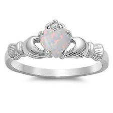 Claddagh Ring 925 Sterling Silver White lab Opal & Clear CZ Heart Ring