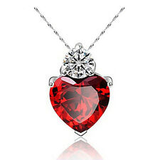 For Girlfriend Mum Wife Silver Plated Crystal Necklace Love Heart Pendant
