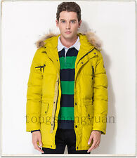 Men's Thick Fur Collar Down Jackets Warm Winter Hooded Padded Coat Parka Hot New