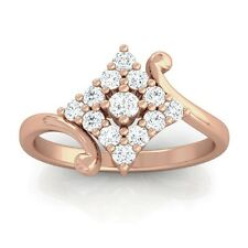 0.24ct GH SI Real Round Diamonds Cluster Anniversary Ring Women 10K Rose Gold