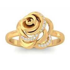 0.09ct GH SI Fine Diamonds Rose Flower Fashion Daily Wear Ring 10K Yellow Gold