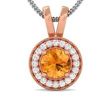 Orange Citrine FG SI Diamond Round Halo Gemstone Pendant Women 18K Rose Gold
