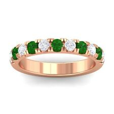 Green Emerald FG SI Diamonds Half Eternity Wedding Band Women 18K Rose Gold