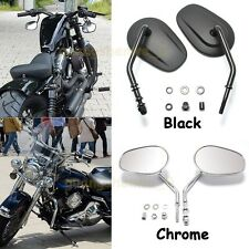 BLACK/CHROME MOTORCYCLE TAPERED SHORT STEM REARVIEW MIRRORS FOR HARLEY 883 DYNA