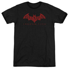 Arkham City Batman Red Bat Mens Adult Heather Ringer Shirt Black