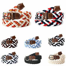 Mens Womens Elastic Cotton Stretch Braided Tabbed Twisted Casual Waistband Belts