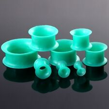 Pair Green Silicone Soft Flexible Ear Tunnels Plugs Expanders Ear Gauges Jewelry