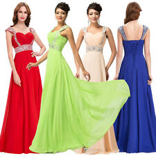 New Sexy Sequins Long Chiffon Evening Formal Party Dress Bridesmaid Prom Gowns