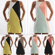 Womens Summer Beach Sleeveless Cocktail Party Sundress Mini Dress Tops Oversized