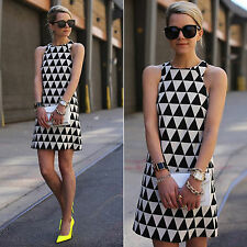 Fashion Womens Slim Geometric Sleeveless Party Clubwear Summer Casual Mini Dress