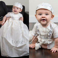 Two Piece Baptism Gowns For Boys Detachable Christening Dresses With Bonnet 2017
