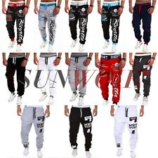 UK Mens Casual Gym Tops Bottoms Dance Sport Jogging Trousers Jogger Sweat Pants