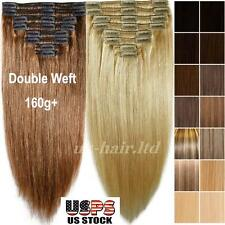 7A Double Weft Thick 160g Clip In Remy Human Hair Extension Full Head US U652