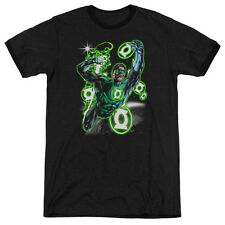 Green Lantern Earth Sector Mens Adult Heather Ringer Shirt Black
