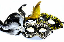 Black & Gold/Silver Venetian Masquerade Mask Masked Ball Mardi Gras feathers