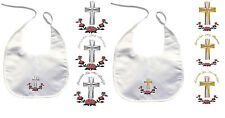 Baby Toddler Christening Baptism White BIB Gold Silver Embroidery Cross Flower