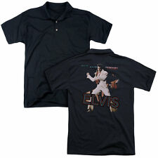 Elvis/Hit The Lights (Back Print) Mens Regular Fit Polo in Black