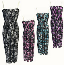 WOMENS BLACK,BLUE,PURPLE,PINK LONG STRAPPY SLEEVELESS FLORAL PRINT MAXI DRESS