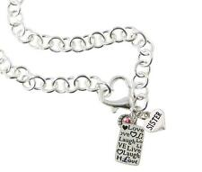 Custom Live Love Laugh Family Charms Silver Heart Clasp Necklace Jewelry Gift