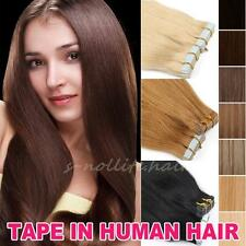 "5A 16""-24"" Tape In Skin Weft Brazilian Remy Virgin Human Hair Extensions US I401"
