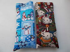 Handmade soft padded spectacle pouch / glasses case - Christmas themed cottons