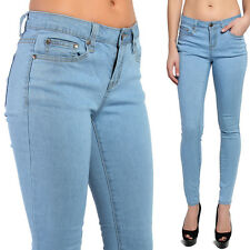 TheMogan Low Rise Ice Blue Wash Stretch Ankle Skinny Jeans Casual Denim Pants