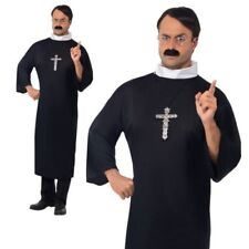 Adult Religious Priest Mens Fancy Dress Costume Black Robe Collar
