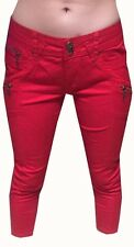 WOMENS RED ZIP CROPPED SKINNY SLIM FITTED STRAIGHT CARGO JEANS PANTS TROUSERS